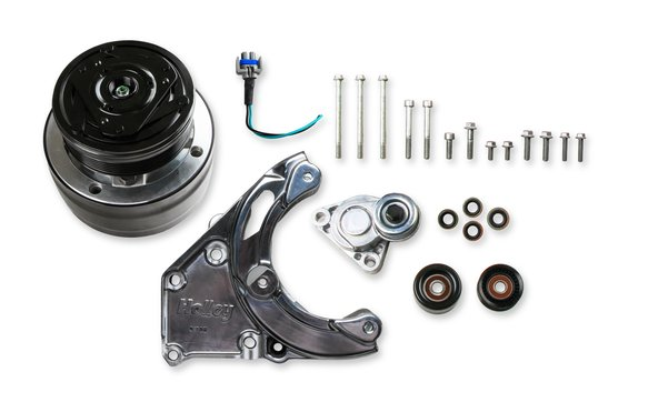 20-140P - LS A/C Accessory Drive Kit - Includes R4 A/C Compressor, Tensioner, & Pulleys-Polished Image