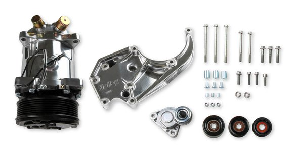 20-141P - LS A/C Accessory Drive Kit - Includes SD508 A/C Compressor, Tensioner, & Pulleys- Polished Finish Image