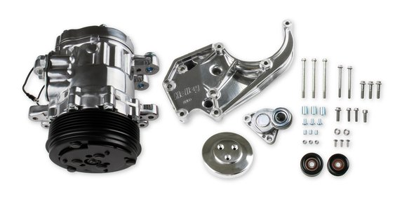 20-142P - LS A/C Accessory Drive Kit - Includes SD7 A/C Compressor, Tensioner, & Pulleys- Polished Finish Image