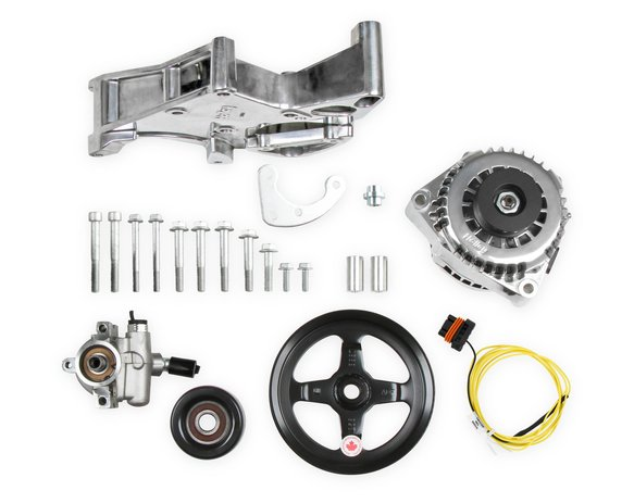 20-143P - LS/LT Alternator & Power Steering Pump Accessory Drive Kit - Driver's Side Bracket-Polished Finish Image