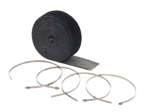 2002BK - Exhaust Wrap Kit - Black 2 in x 25 ft Roll - With (4) 14 in Stainless Steel Tie Straps Image