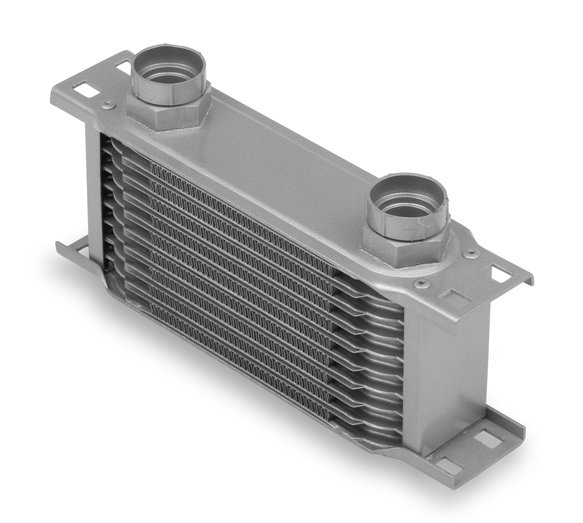 21045ERL - Earls Temp-A-Cure Oil Cooler - Grey - 10 Rows - Narrow Cooler 12mm x 1.5 Female Ports Image