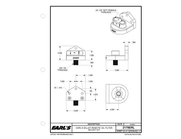 earls 2178erl earls billet remote oil filter mount kit