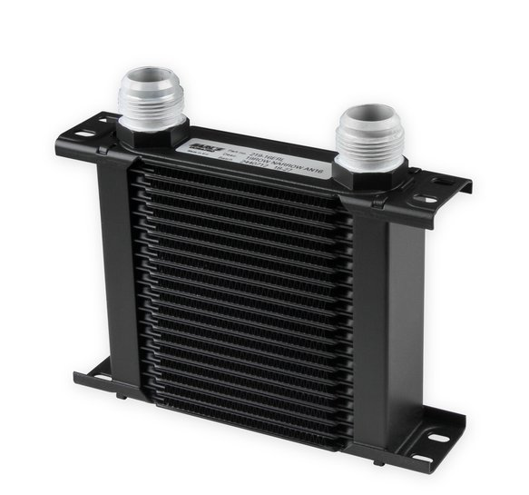 219-16ERL - Earls UltraPro Oil Cooler - Black - 19 Rows - Narrow Cooler - 16 AN Male Flare Ports Image