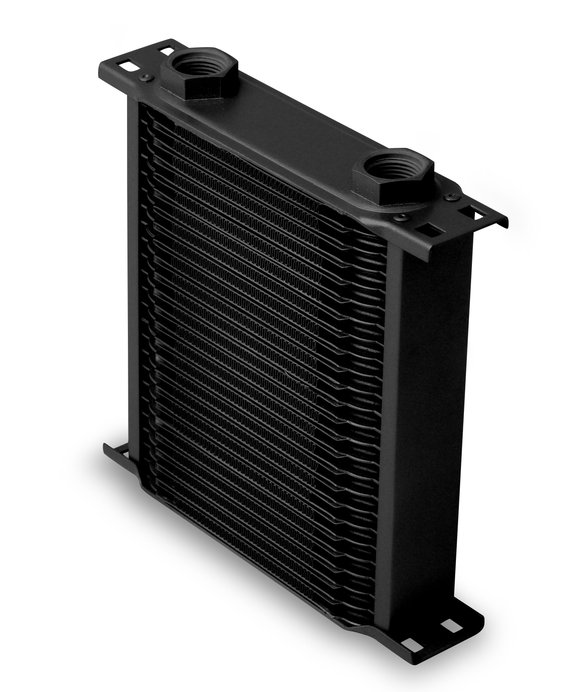 22500AERL - Earls Temp-A-Cure Oil Cooler - Black - 25 Rows - Narrow Cooler -10 O-Ring Boss Female Ports Image