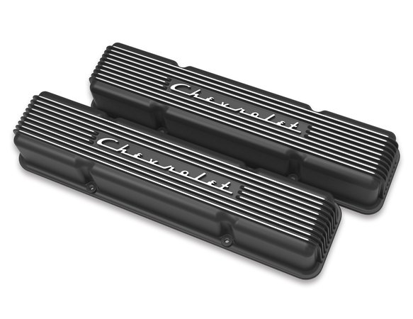 241-108 - Holley GM Licensed Vintage Series SBC Valve Covers Satin Black Machined Finish Image