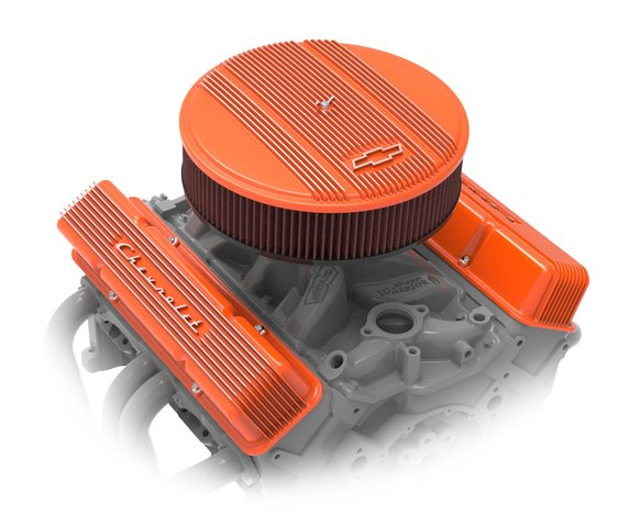 241-109 - Holley GM Licensed Vintage Series SBC Valve Covers - Factory Orange Machined Finish - additional Image