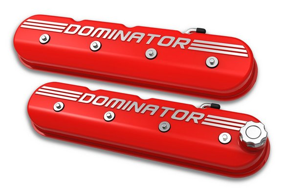 241-121 - Tall LS Dominator Valve Covers - Gloss Red Machined Finish Image
