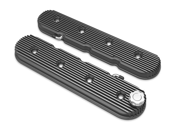 241-132 - Vintage Series Finned LS Valve Covers, Standard Height - Satin Black Machined Finish Image