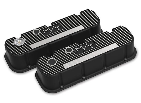 241-152 - Tall M/T Valve Covers for Big Block Chevy Engines – Satin Black Finish with Machined Fins/Logo - default Image