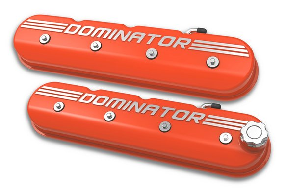241-162 - Tall LS Dominator Valve Covers - Factory Orange Machined Finish Image