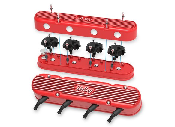241-174 - 2-Pc LS Vintage Series Valve Covers – Gloss Red Machined Finish - additional Image