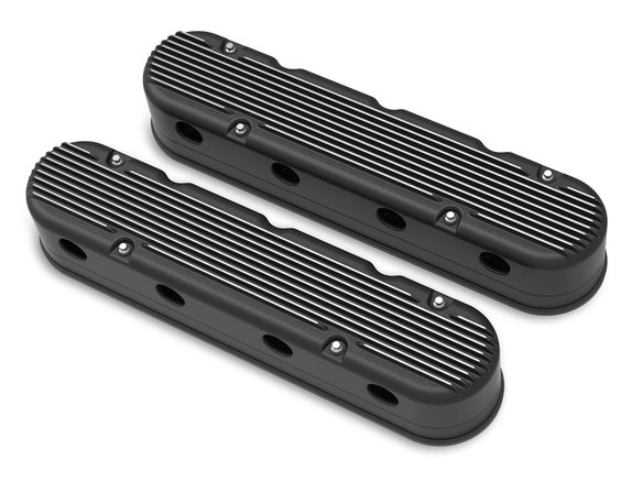 241-182 - 2-Pc LS Finned Valve Covers – Black Machined Finish - default Image