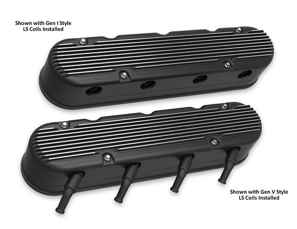 241-182 - 2-Pc LS Finned Valve Covers – Black Machined Finish - additional Image