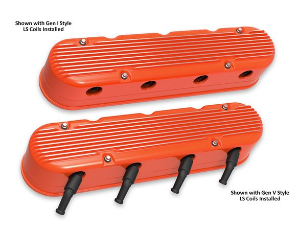 241-183 - 2-Pc LS Finned Valve Covers – Factory Orange Finish with Machined Fins - additional Image