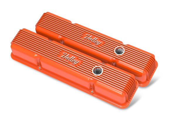241-239 - Vintage Series Finned Valve Covers, with Emissions, SBC – Factory Orange Machined Finish Image