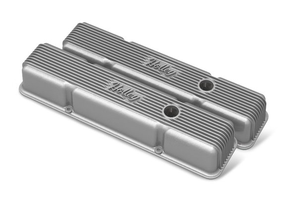 241-240 - SB Chevy Finned Valve Covers - Natural Cast Finish Image