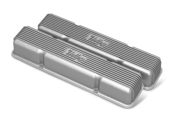 241-243 - Holley Finned Valve Covers for small block Chevy engines - Natural Cast Finish Image
