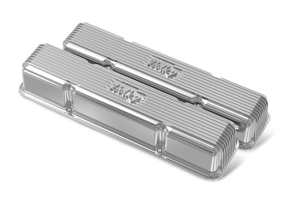 241-244 - Holley Finned Valve Covers for small block Chevy engines - Polished Finish Image