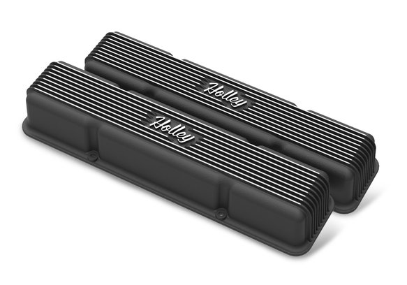 241-245 - Holley Finned Valve Covers for small block Chevy engines -Satin Black Finish Image