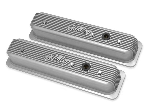 241-246 - Holley Finned Valve Covers for Small Block Chevy Engines - Natural Finish Image