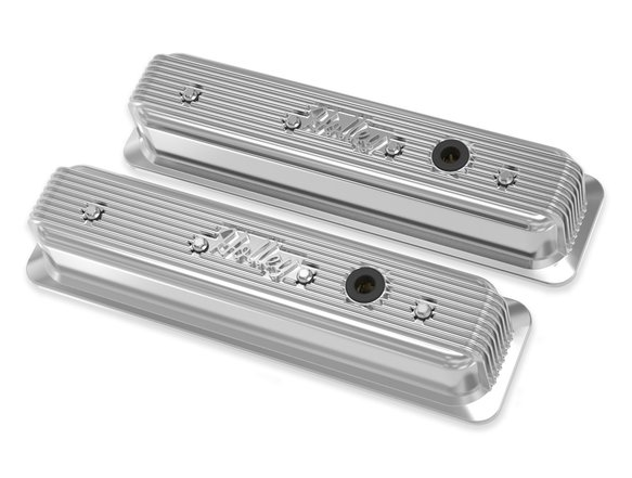 241-248 - Holley Finned Valve Covers for Small Block Chevy Engines - Polished Image