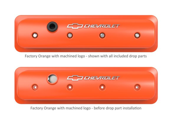 241-293 - GM Muscle Series Center Bolt Valve Covers Factory Orange Machined Finish - additional Image