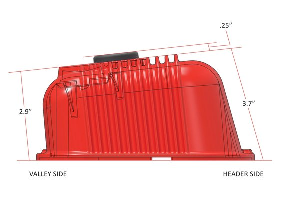 241-303 - BBC Vintage Series Finned Valve Covers – Holley Red Machined Finish - additional Image