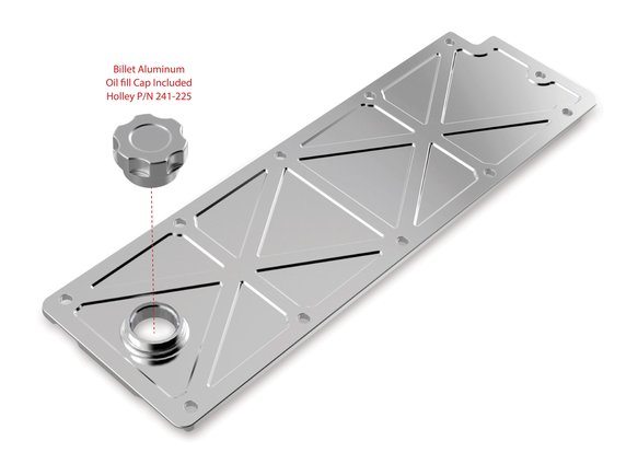 241-361 - Holley LS Valley Cover with Oil Fill - Polished Billet - additional Image