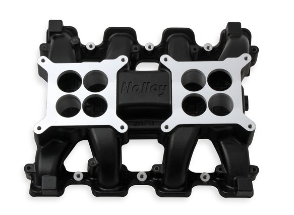 300-133BK - Holley LS Carbureted Manifold 2x4 Dual Plane LS3/L92 - Black - additional Image
