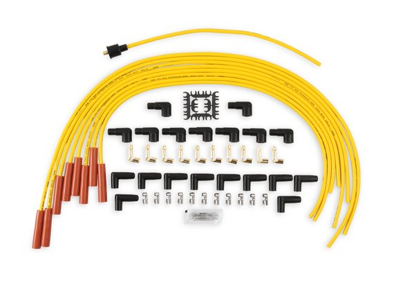 4040 - Spark Plug Wire Set - 8mm - Yellow with Orange Straight Boots Image