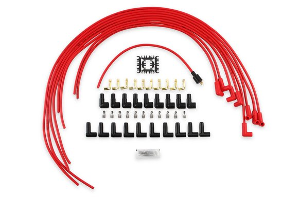 4041R - Spark Plug Wire Set- 8mm - Super Stock Universal with Graphite Core - Red Wire with Red 90 Deg Boots Image