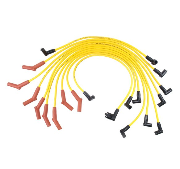 4056 - Spark Plug Wire Set - 8mm - Super Stock - Custom with Graphite Core - Yellow with HEI Stock Style Boots - Ford 1983-1996 V8 Image