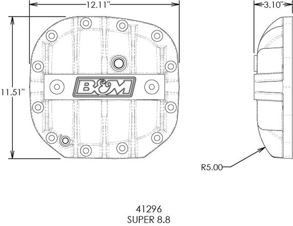 41296 - B&M Hi-Tek Aluminum Differential Cover for Ford Super 8.8 - Black - additional Image