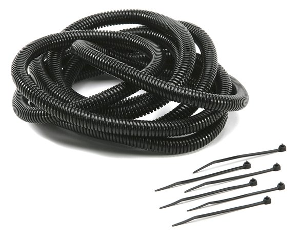 4500 - Convoluted Tubing - Black 1/4 in ID x 12 ft Long - 6 Tie Straps Included Image