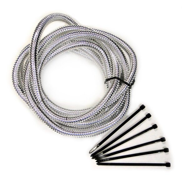 4522 - Convoluted Tubing - Chrome - 1/2 in Diameter x 6 ft Long - Tie Straps Included Image