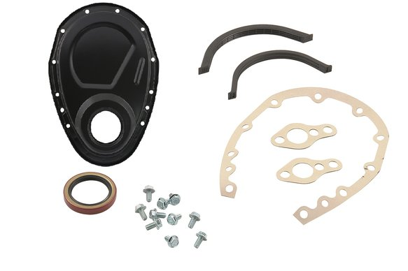 4590BP - Mr. Gasket Timing Cover Kit - Flat Black - Small Block Chevy Image