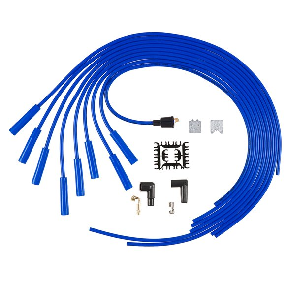5040B - Spark Plug Wire Set - 8mm - Super Stock - 500 Ohms/Ft Sprial Core - Universal - Blue Wire with Blue Straight Boots Image