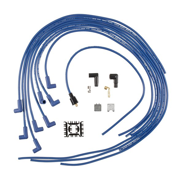 5041B - Spark Plug Wire Set - 8mm - Universal - Blue Wire with Blue 90 Deg Boots Image