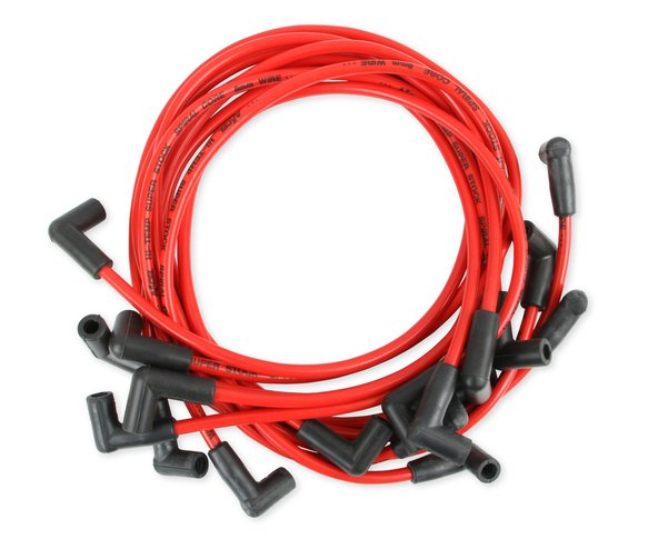 5140R - Spark Plug Wire - 8mm - Super Stock - 500 Ohms/Ft Sprial Core - Custom - Red Wire - SBC 1978-1980 V8 HEI Image