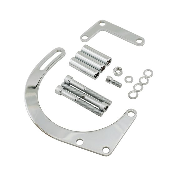 5179 - Lower Alternator Mounting Kit - Small Block Chevy - Chrome Plated Steel Image