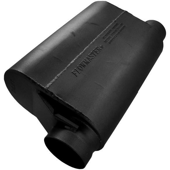 53545-10 - Alcohol Race Muffler - 3.50 Offset In / 3.00 Same Side Out - Aggressive Sound Image