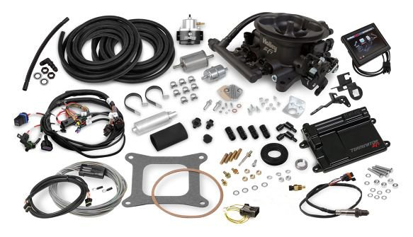 550-406K - Terminator EFI 4bbl Throttle Body Fuel Injection Master Kit - Hard Core Gray - additional Image