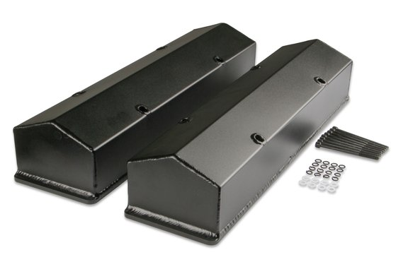 6811BG - Mr. Gasket Fabricated Aluminum Valve Covers - Black Finish Image