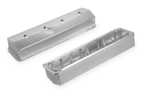 6812G - Fabricated Aluminum Valve Cover - Chevy Small Block - Silver Finish Image