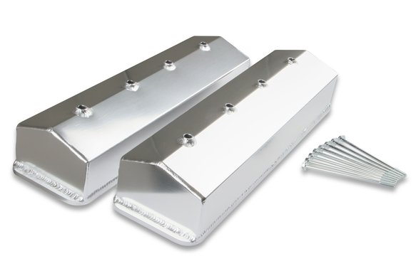 6812G - Mr. Gasket Fabricated Aluminum Valve Cover with No Oil Hole - Silver Finish Image