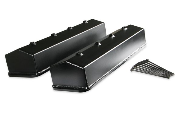 6813BG - Mr. Gasket Fabricated Aluminum Valve Cover without Oil Hole - Black Finish Image