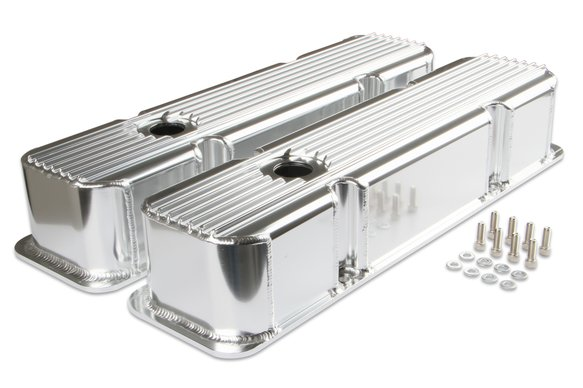 6814G - Mr. Gasket Finned Fabricated Aluminum Valve Covers - Polished Image