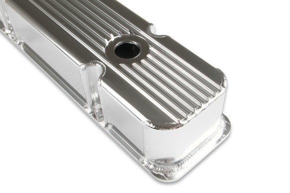 6814G - Mr. Gasket Finned Fabricated Aluminum Valve Covers - Polished - additional Image