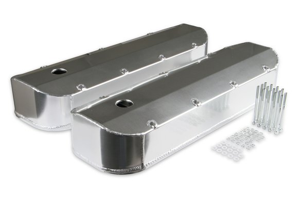 6822G - Mr. Gasket Fabricated Aluminum Valve Covers with Breather Holes - Long Bolt Style Image